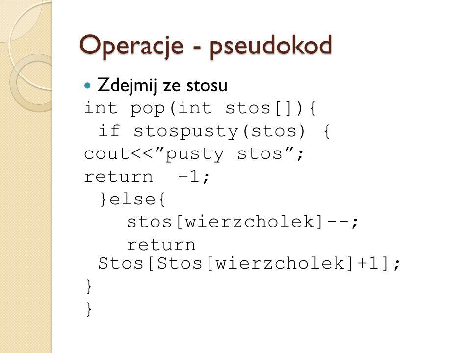 Operacje - pseudokod Zdejmij ze stosu int pop(int stos[]){